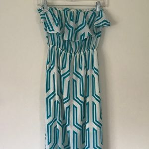 Teal and White Geo Maxi Strapless Dress Size 4 6